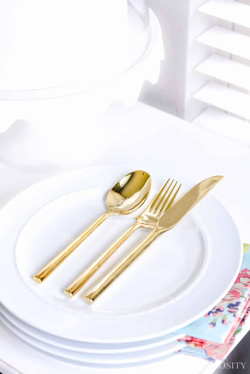 gold silverware - Breakfast Nook - Modern Farmhouse Craftsman Home