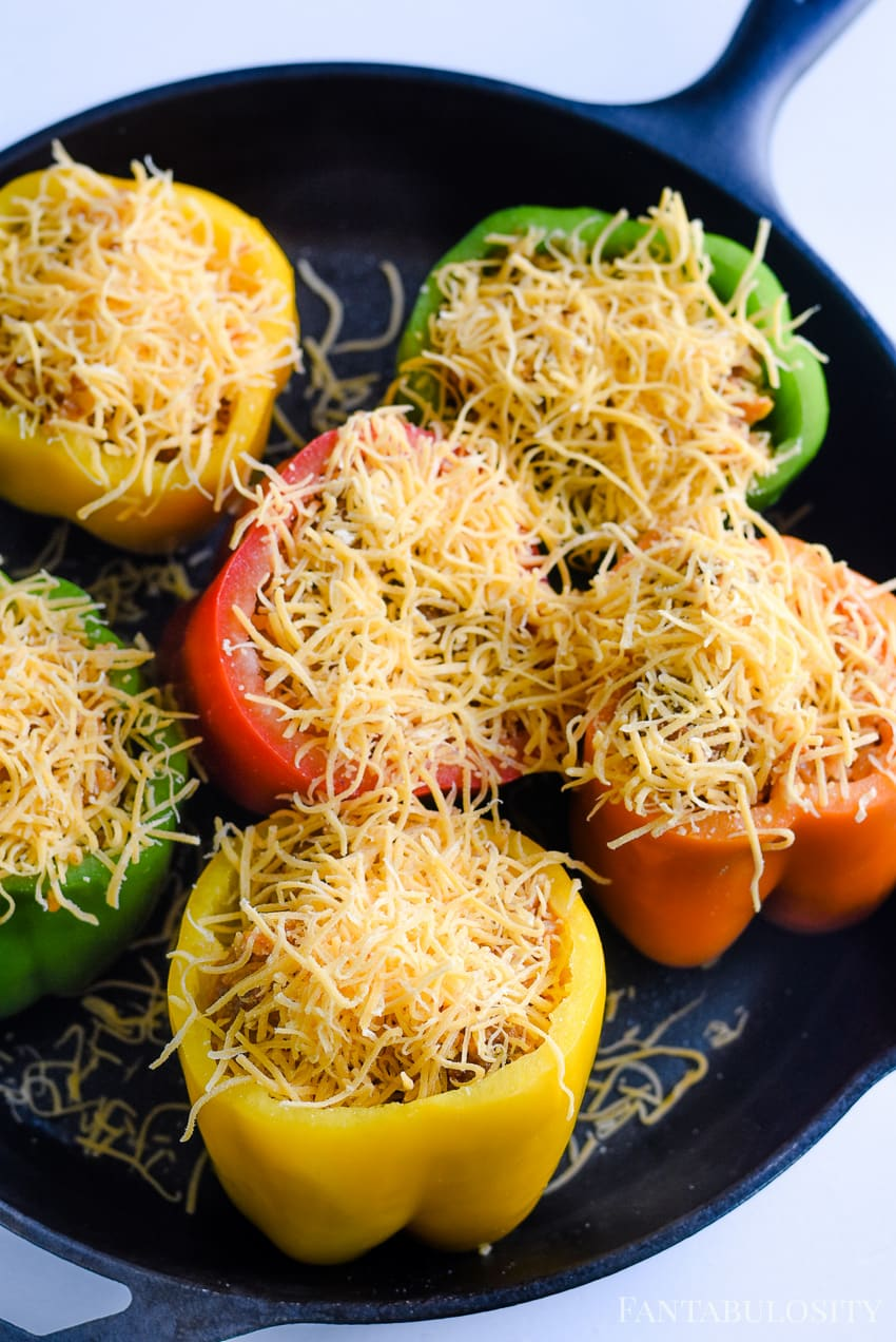 Melt cheese over the top of bell peppers - stuffed peppers recipe