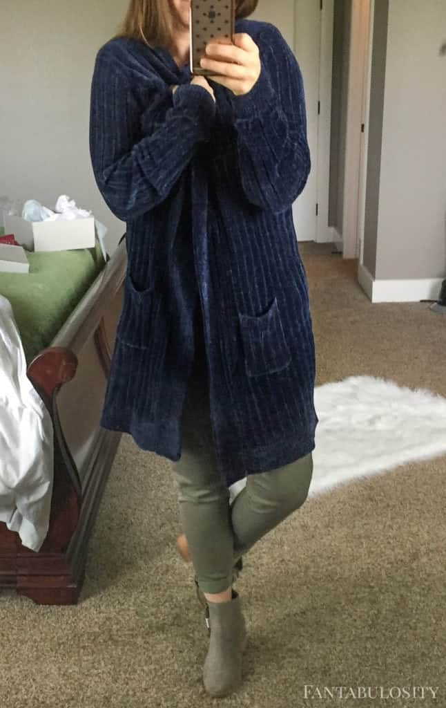 Soft blue cardigan sweater from Nordstroms Trunk Club September