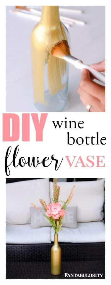 Wine bottle craft: DIY flower vase using paint. So easy!