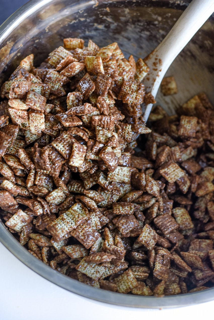Coat the Chex with chocolate and peanut butter - muddy buddies