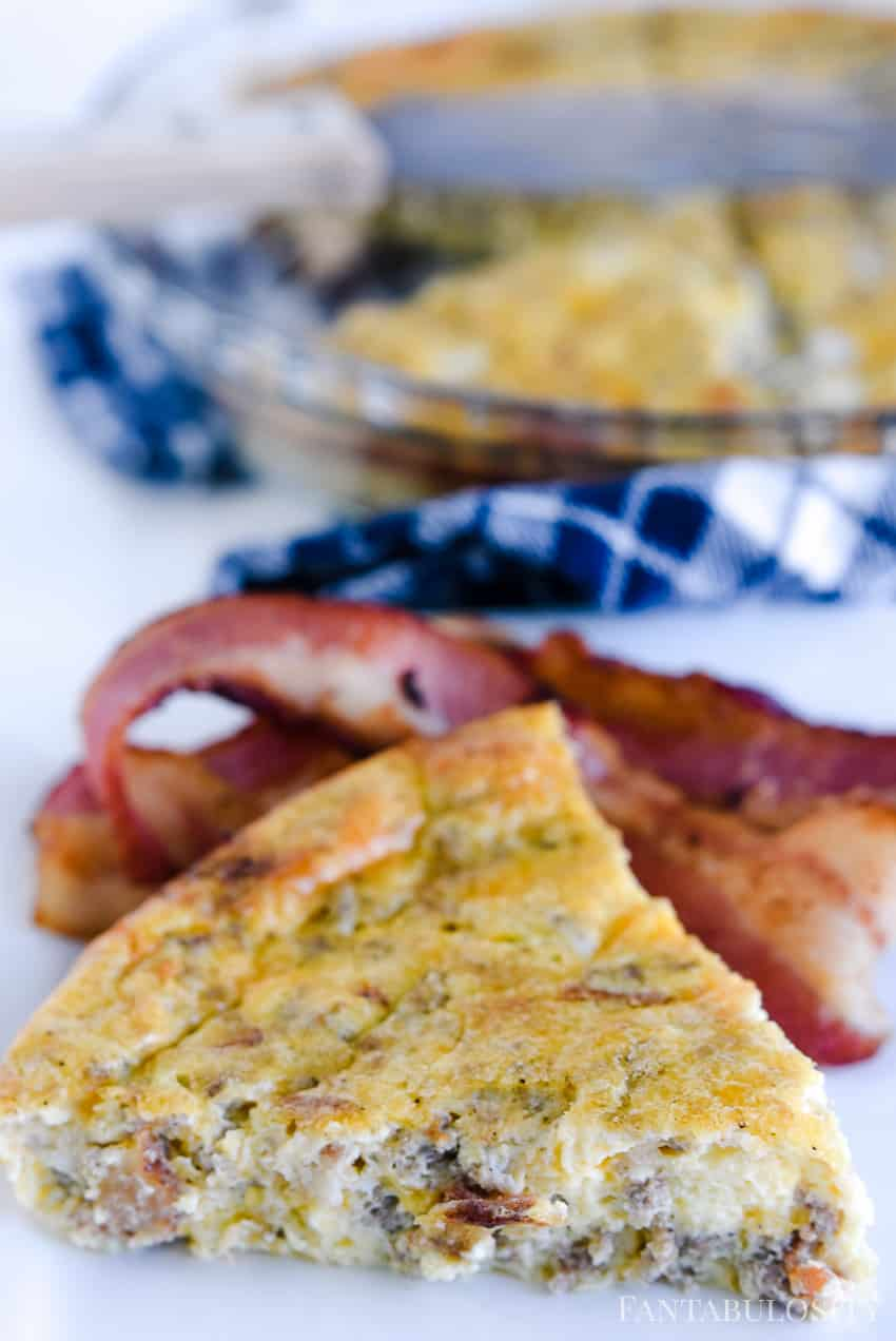 Easy quiche recipe - sausage, bacon, eggs, cheese! Crustless and so easy.