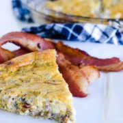 Easy Quiche Recipe - Crustless, with bacon and sausage!