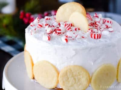 Peppermint Sugar Cookie Cake - Crumbled cookies inside the middle frosting! OMG
