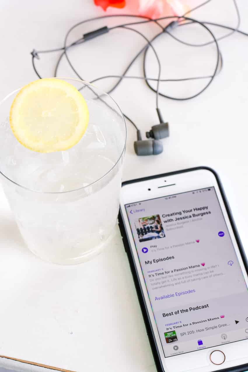 Ipod, earbuds, podcast, lemon water - get motivated to spring clean