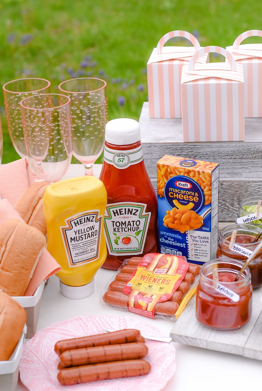 Kraft, Oscar Mayer, and Heinz products for a hot dog bar party