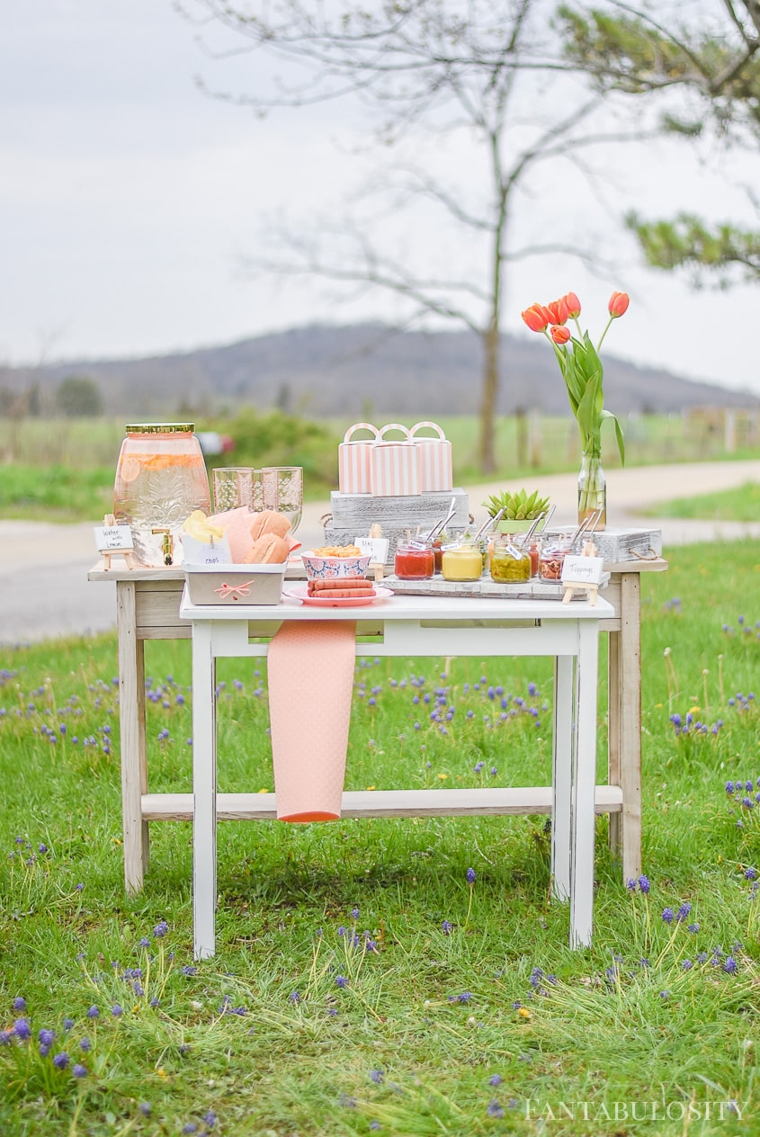 Hot Dog Bar Toppings Ideas for outdoor party