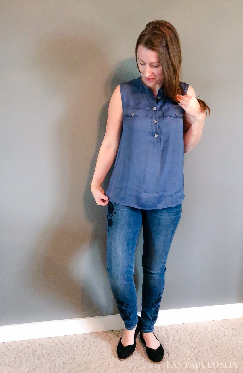 Embroidered Jeans and Blue Vince Camuto Top