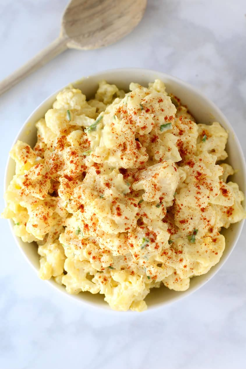 This low carb cauliflower potato salad is a great low carb recipe! So easy and definitely a low carb vegetable for the keto diet!