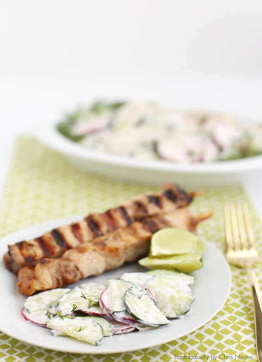 This creamy crunchy cucumber salad recipe is the perfect summer side dish for grilling and summer barbecues.