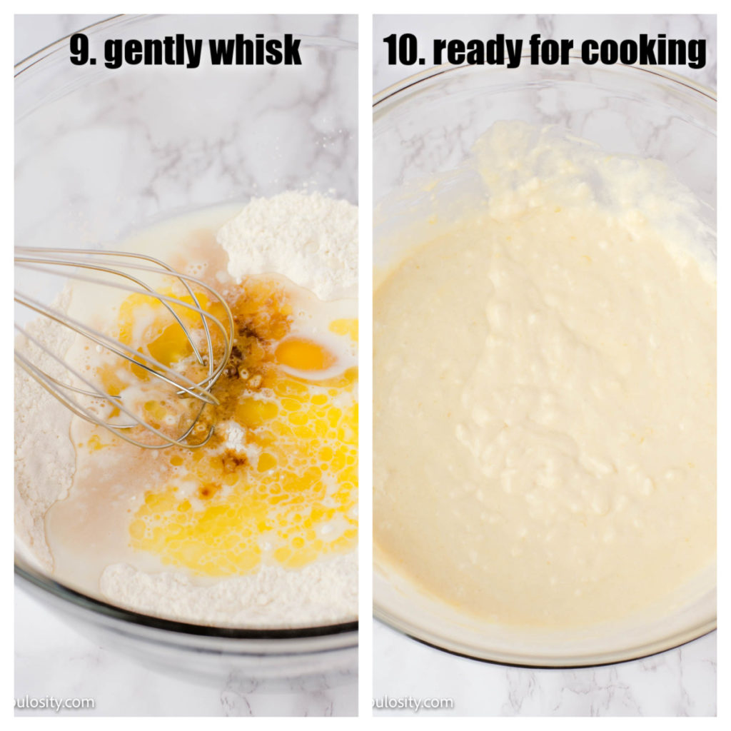 Gently whisk pancake batter - lumps are good