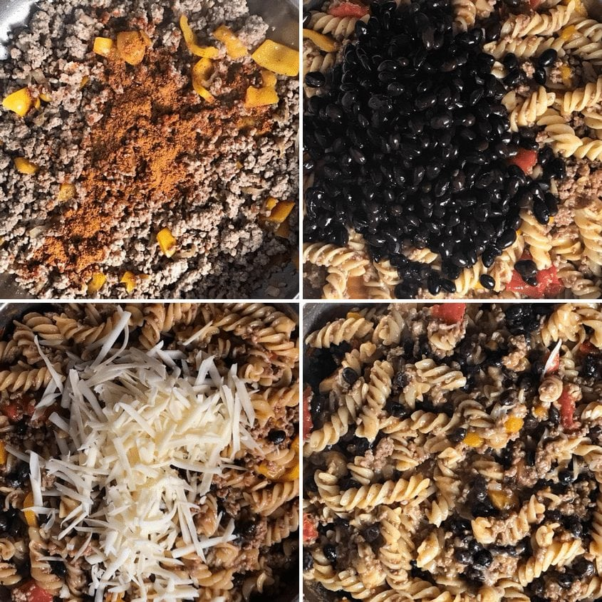 A collage of 4 pictures showing the step by step procedure of making taco pasta.