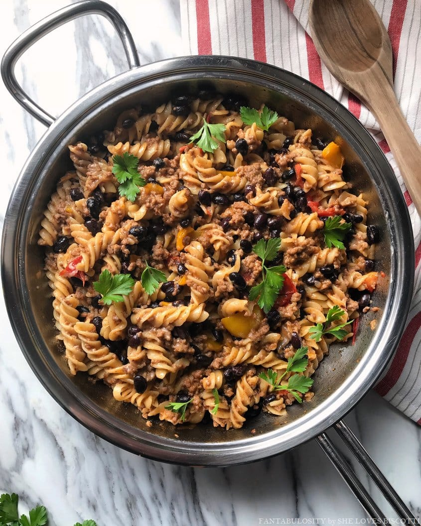 A cheesy and delicious taco pasta recipe ready in just 30 minutes.