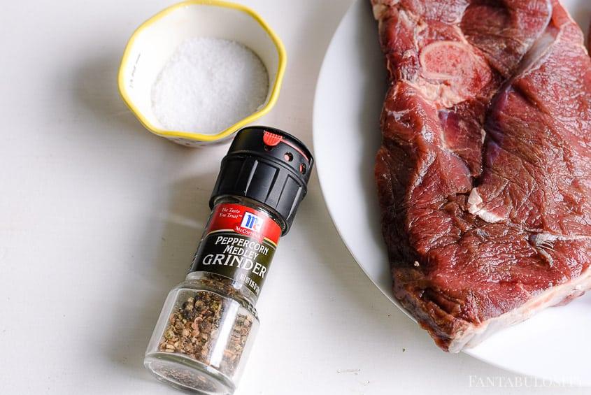Kosher salt and peppercorn medley pepper for cooking deer steaks