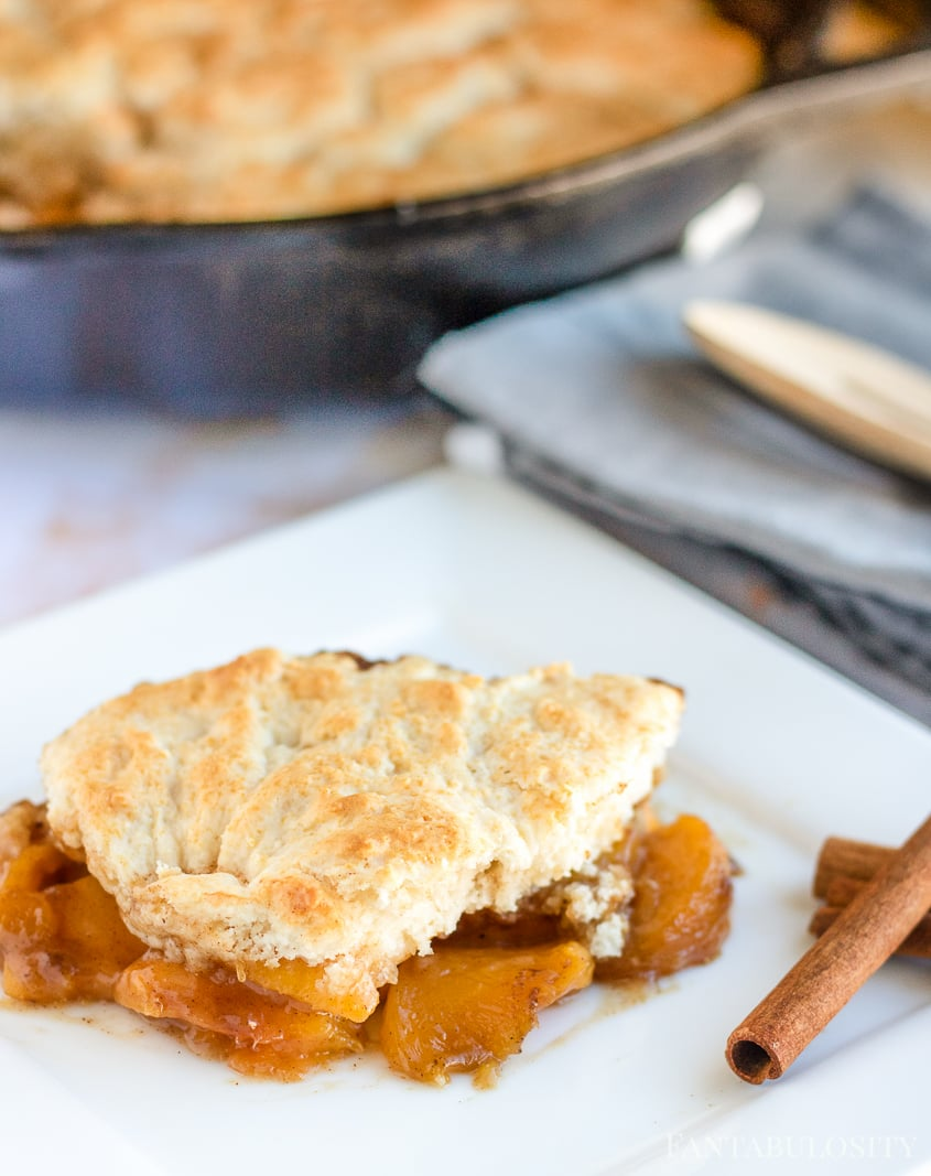 Peach Cobbler Recipe - Easy, Made in a cast iron skillet, using frozen peaches