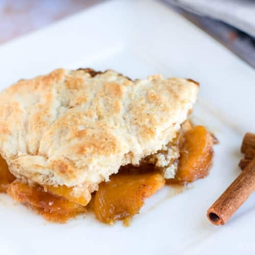 Peach Cobbler - Easy Recipe made in a cast iron skillet