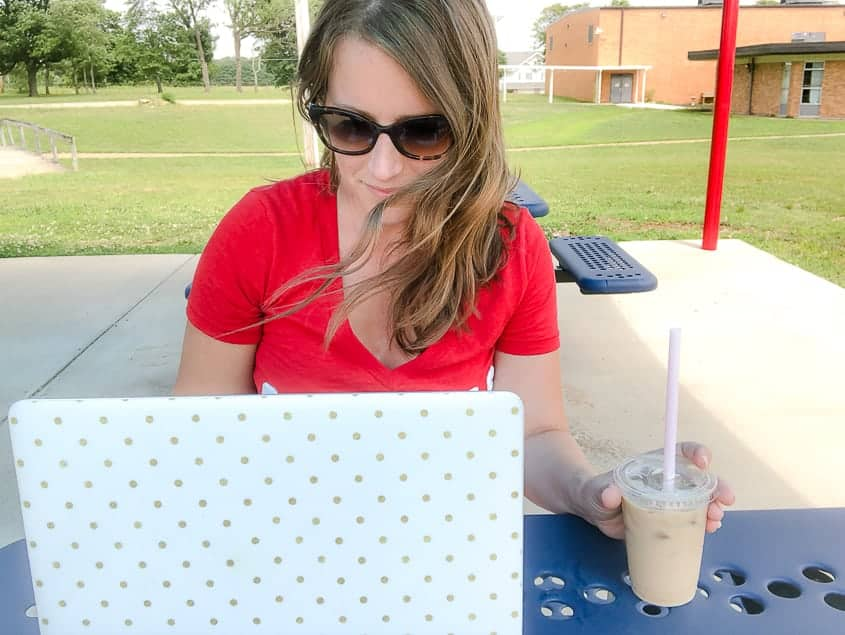 Work at home mom - iced coffee at the park