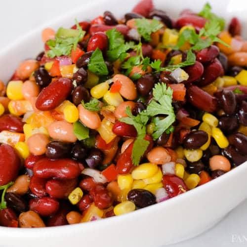 3 bean salad recipe - cilantro lime, black beans, dark red kidney beans, pinto