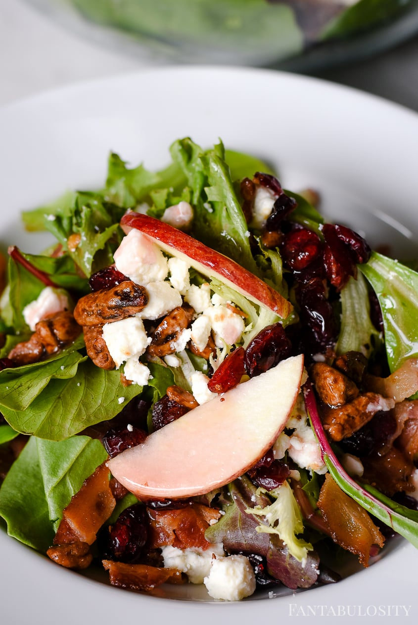 Raspberry Vinaigrette on a salad with apples