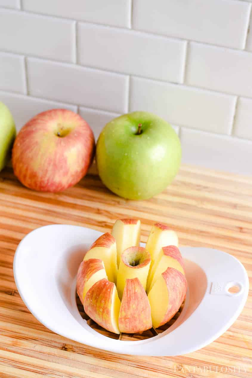Cut and core apples for apple salad