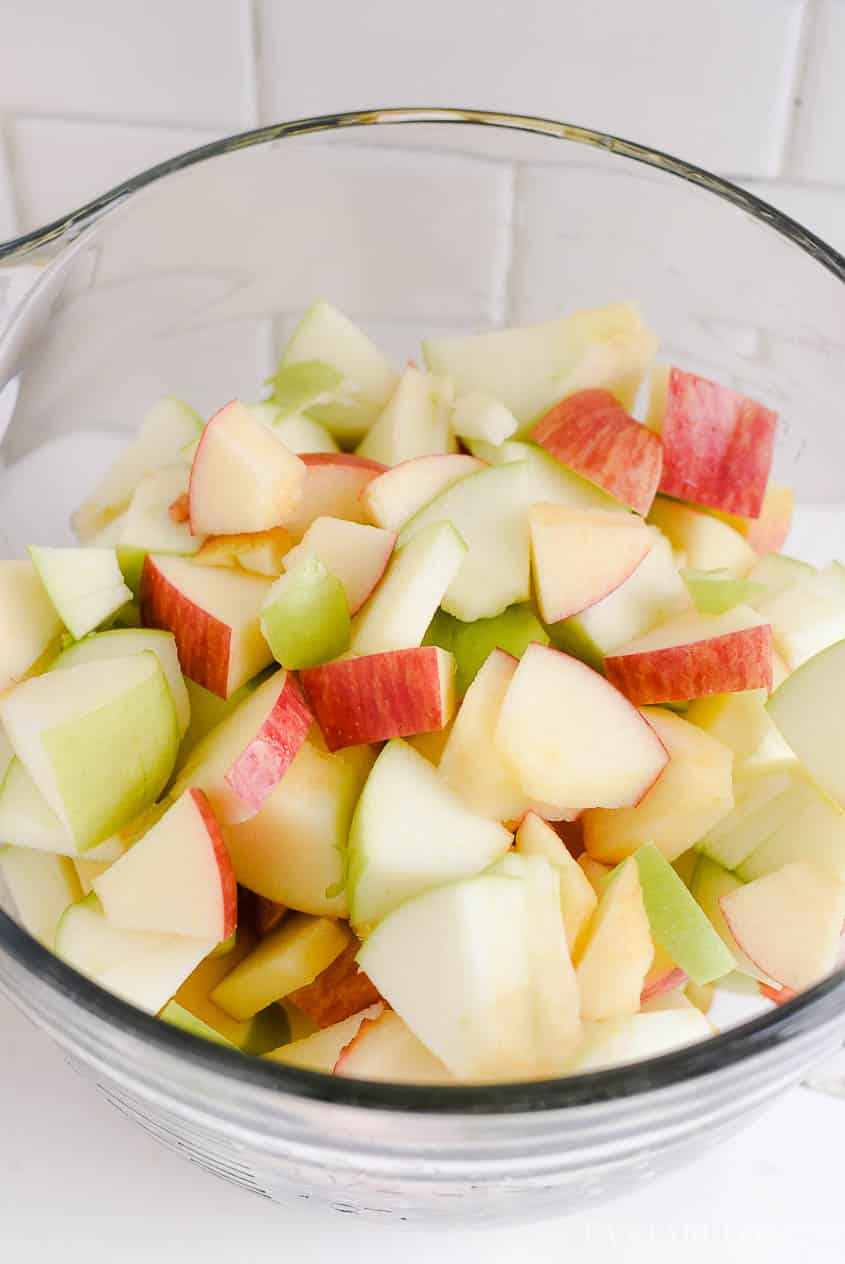 Cut and cube apples for apple salad
