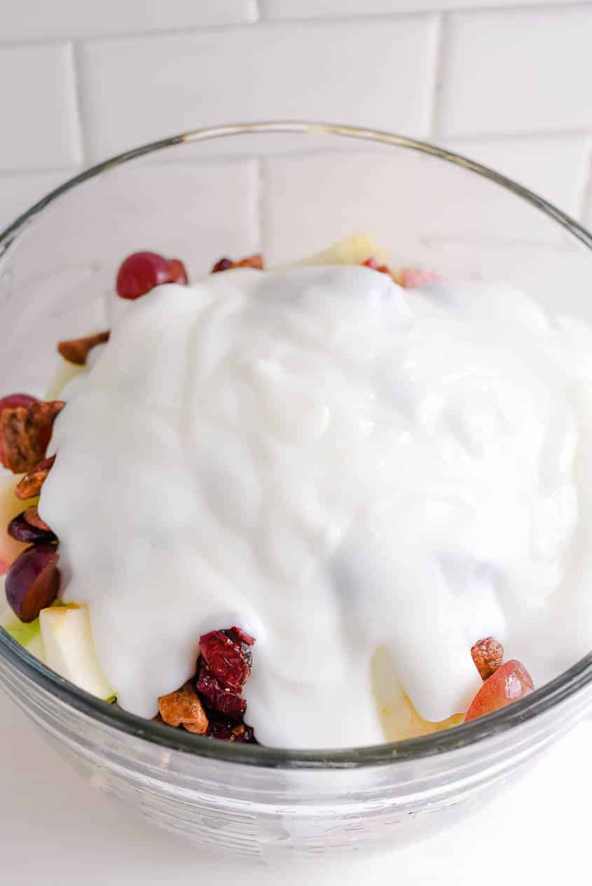 apple salad - yogurt and pudding dressing