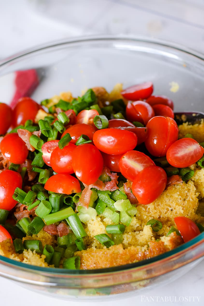 Mix together veggies with the cornbread