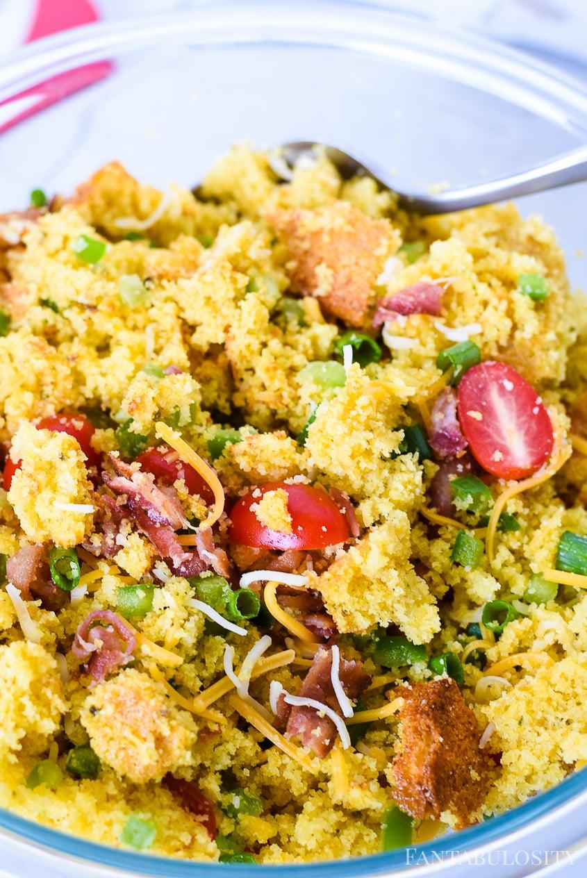 Combine ingredients in bowl for cornbread salad