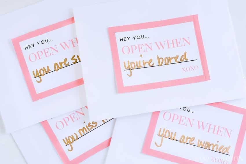 Open When Letters - Ideas for a boyfriend, husband, best friend