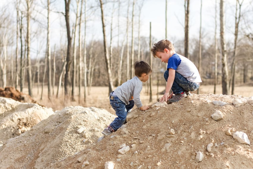 Boys playing in the dirt