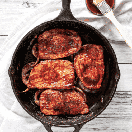 BBQ Baked Boneless Pork Chops are a super easy weeknight meal that's on the table in 30 minutes. Sweet, smoky, simple and delicious.