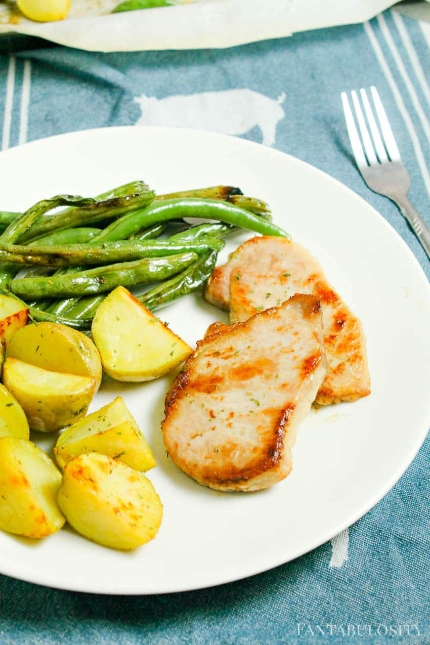 Baked Boneless Pork Chops Vegetables and Potatoes one pan