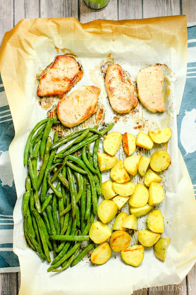 Baked Boneless Pork Chops with green beans and potatoes