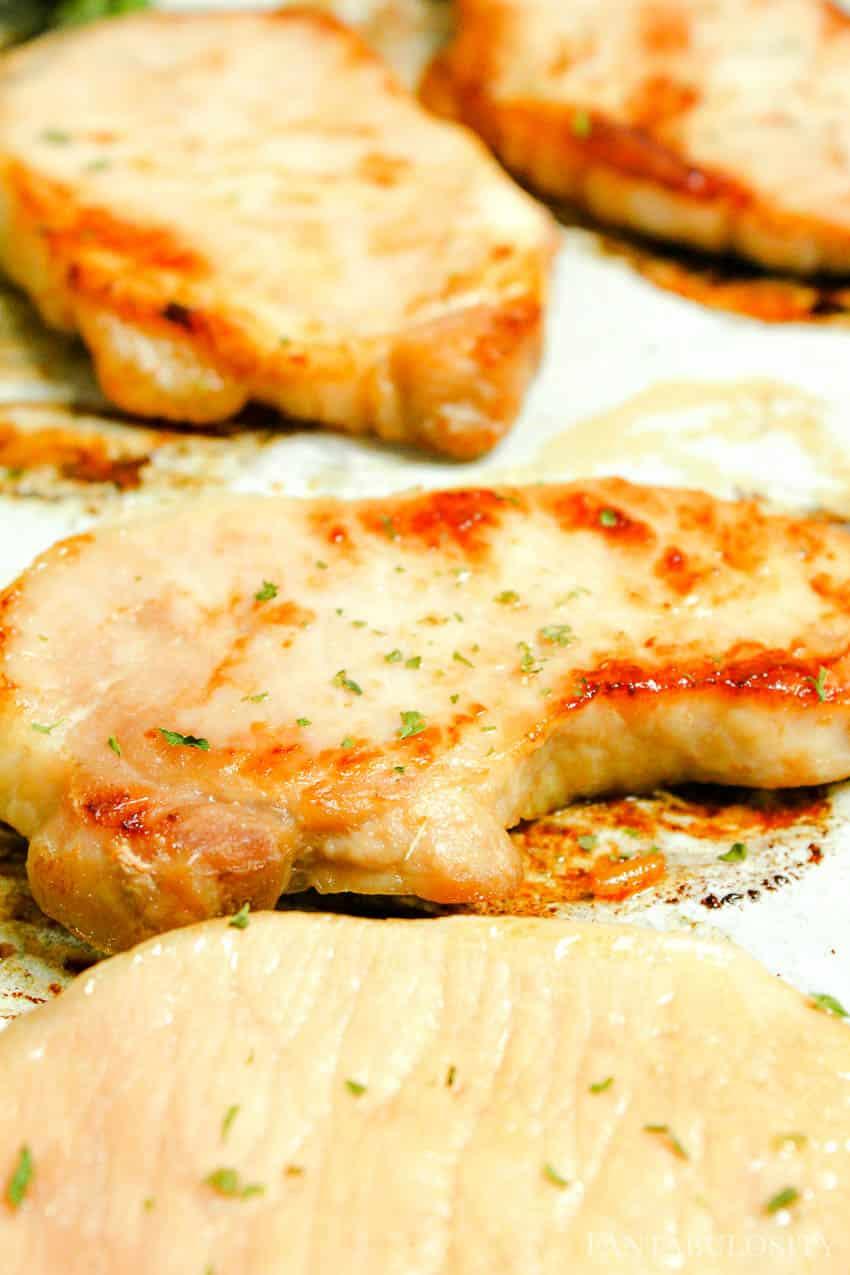 Baked Boneless Pork Chops Recipe on a sheet pan