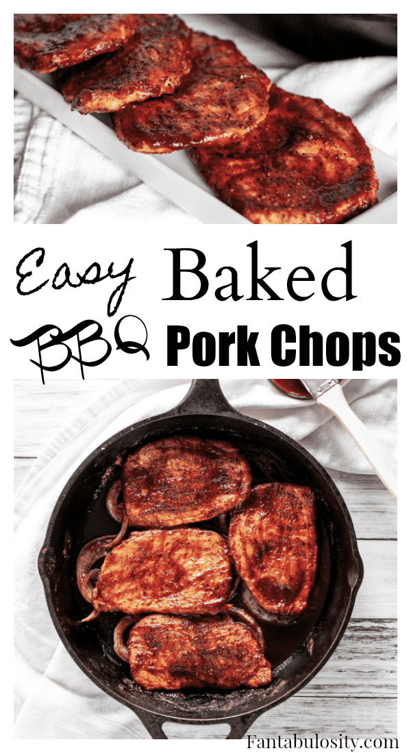MMmmm!!! Baked pork chops are so EASY, and with BBQ sauce! Get in my belly!