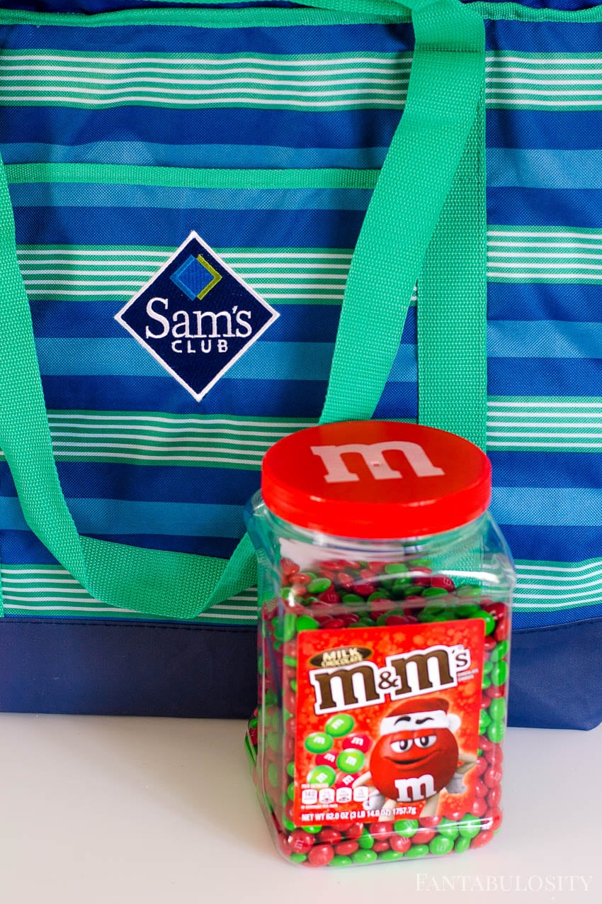 Pick up the red and green m&ms pantry jar from Sams