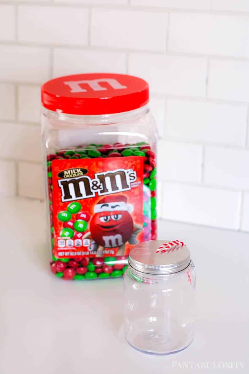 Mason jar ornament with m&ms