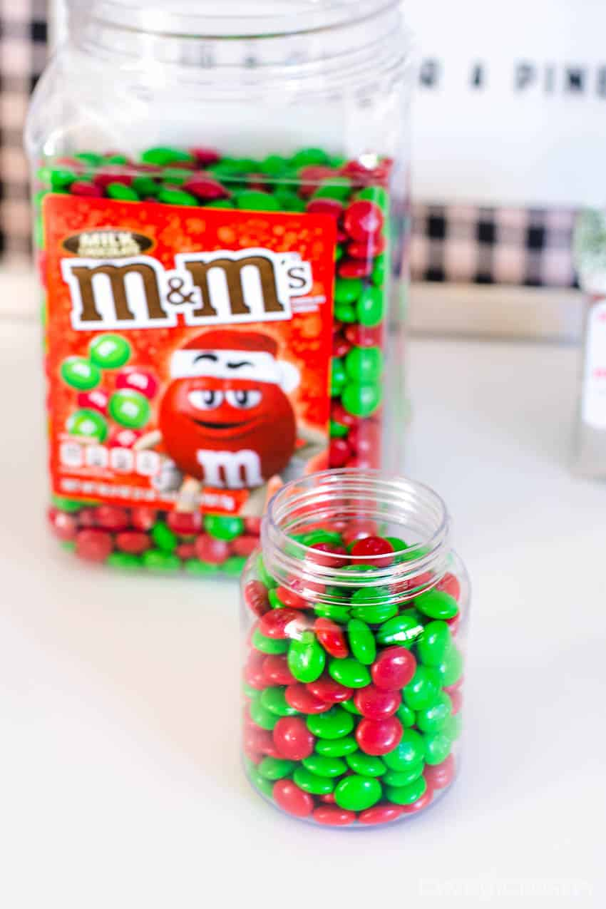 Fill jar with m&m's for treats