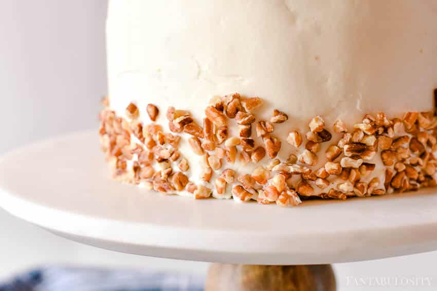 Carrot Cake from scratch with pecans and cream cheese frosting