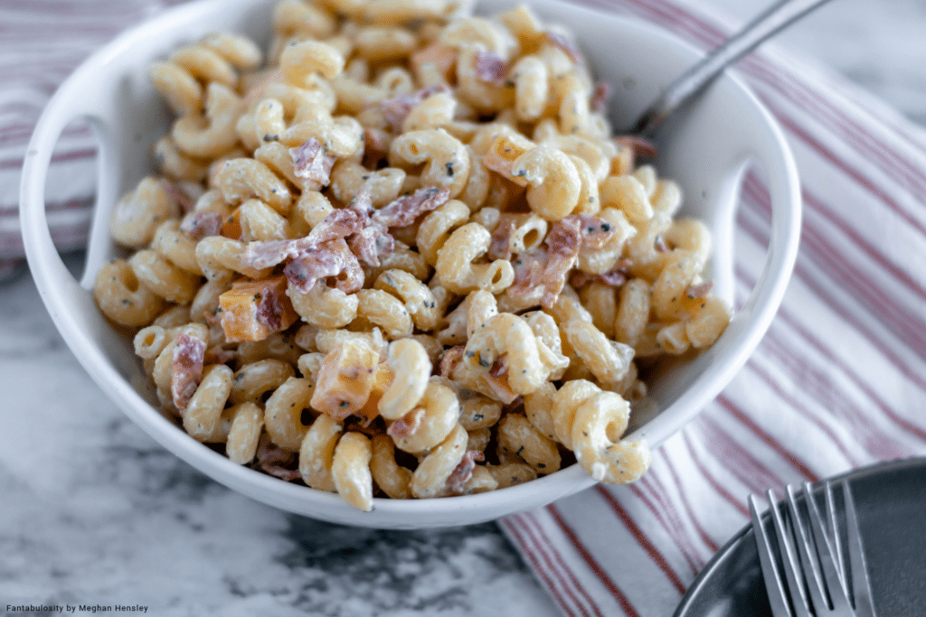 Bacon Ranch Pasta Salad is perfect for potlucks or as a weeknight side dish. Only 6 ingredients needed to get this creamy pasta salad on the table.