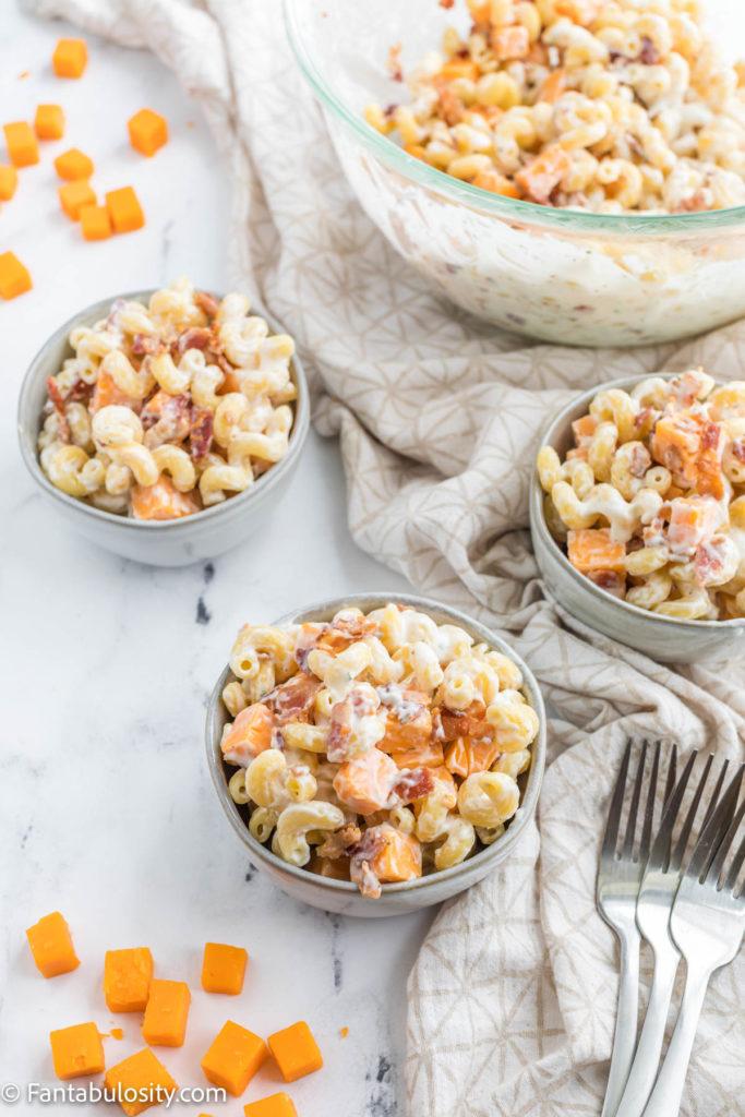 Bacon ranch pasta salad in gray bowls