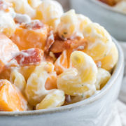 bacon ranch pasta in gray bowl