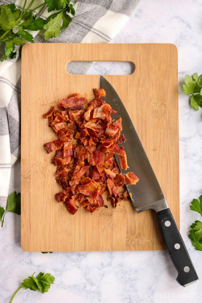 Chopped bacon on a cutting board