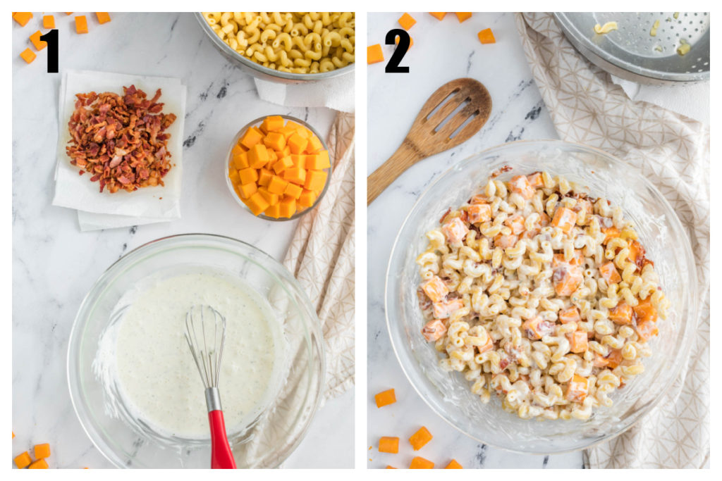 collage - mix together dressing and stir in pasta
