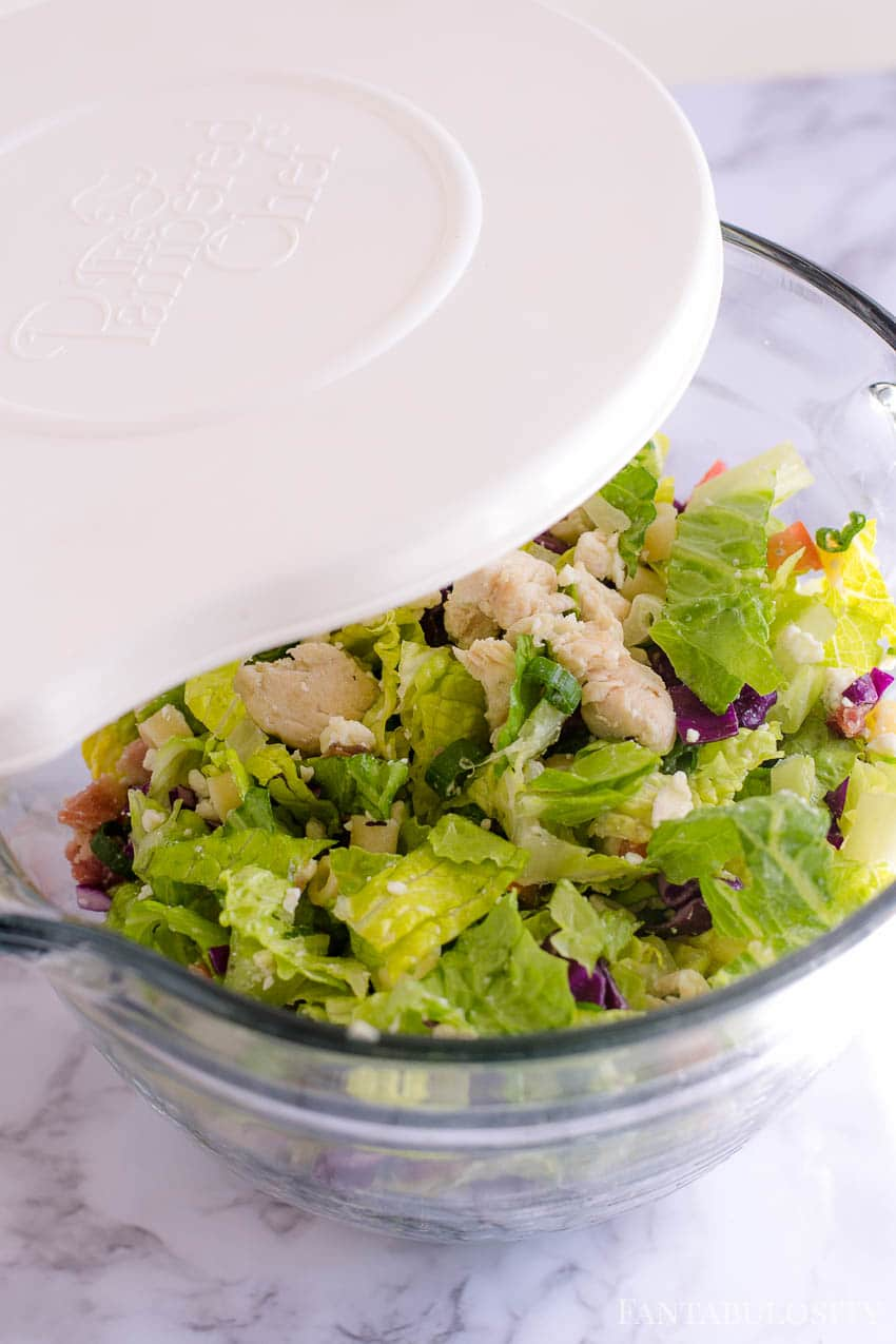 Chopped Salad in a large bowl with lid to mix in dressing