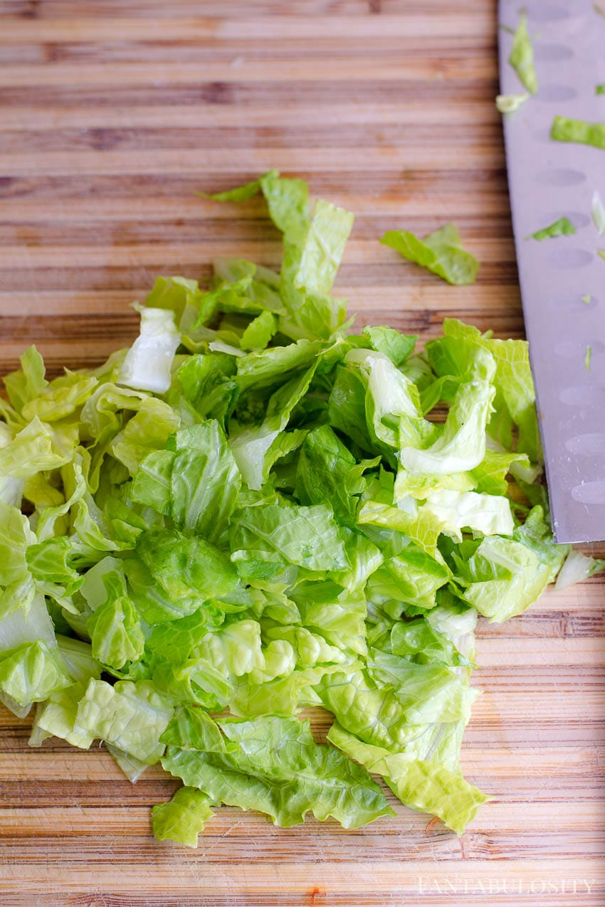 Chopped romaine lettuce and/or iceberg