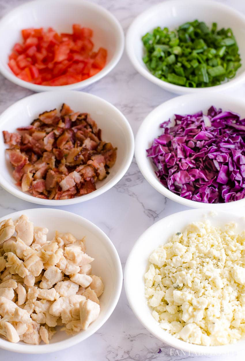 Toppings for chopped salad - chicken, blue cheese, bacon, red cabbage, green onions, tomatoes