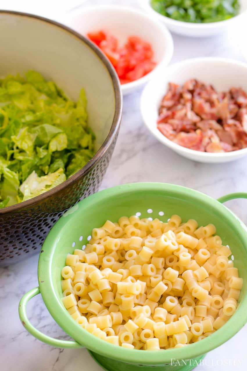 Cooked Ditalani pasta on Italian chopped salad