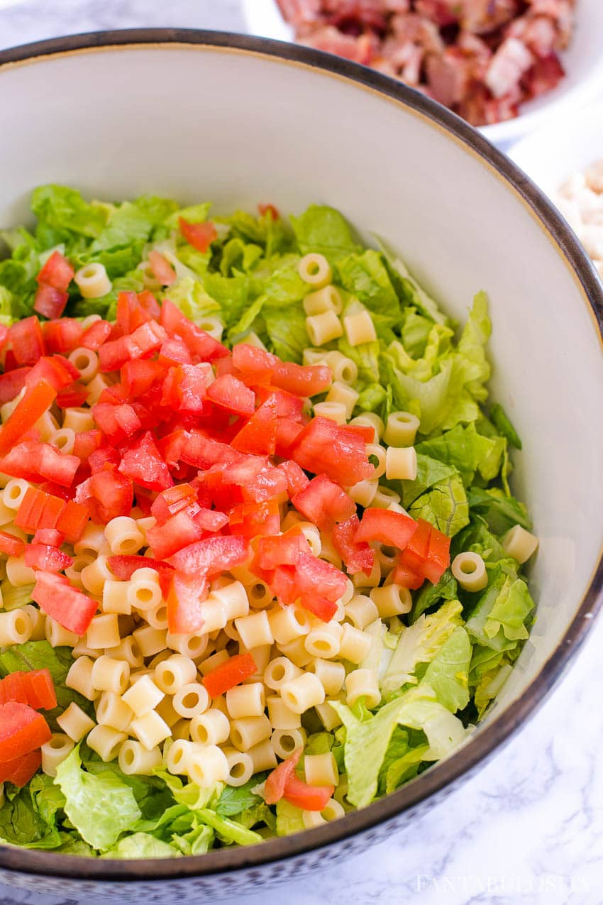 Italian Chopped Salad - tomatoes on top
