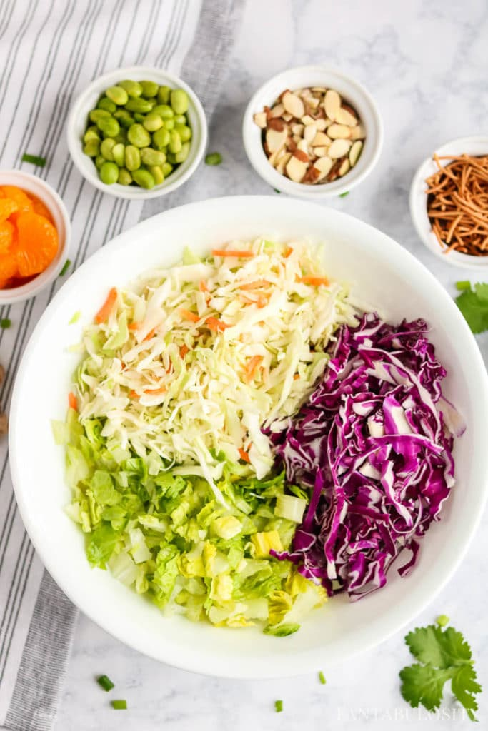 Chopped Asian Salad Recipe in a white bowl